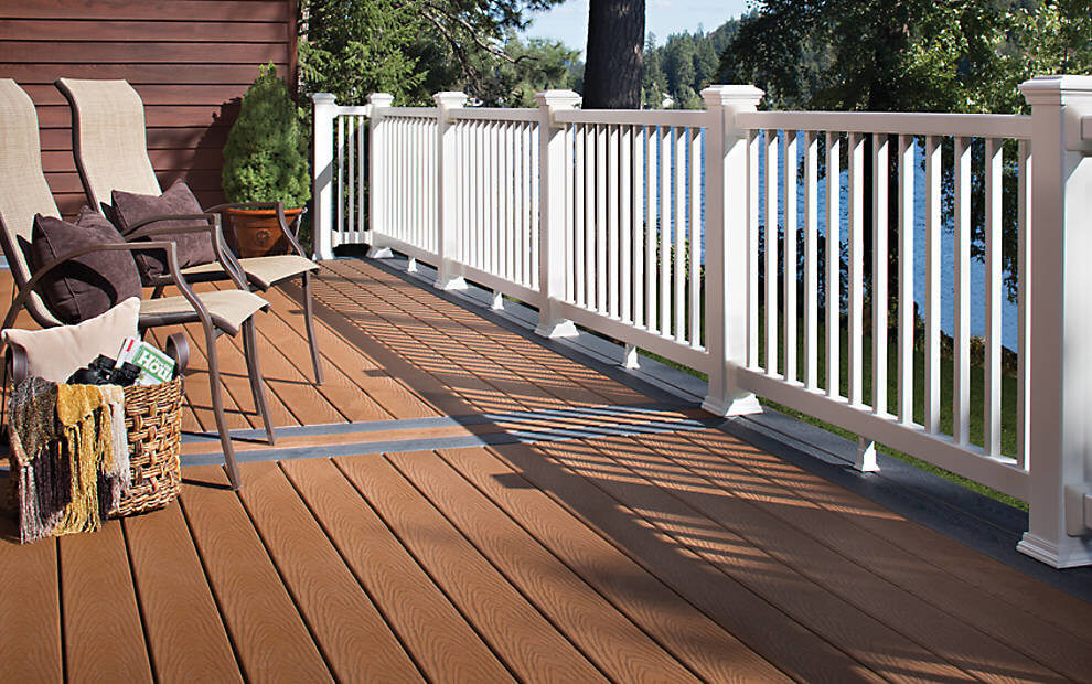 Trex Select Decking in winchester grey railing, available at Yellowstone Lumber in Rigby, Idaho